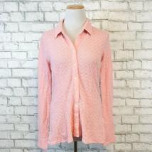 J.Jill Women's Pink Knit Longsleeve Button Front Top Shirt Size Small St... - $22.49