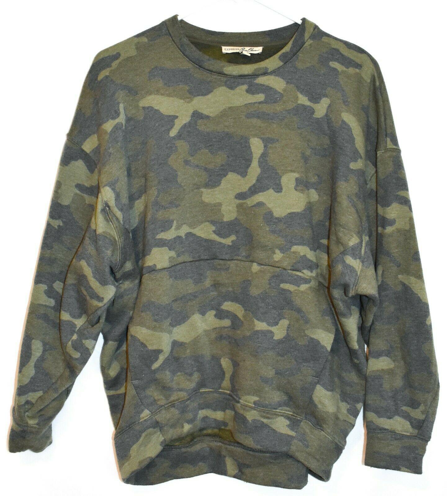 Express One Eleven Women's Faded Camo Crew Neck Front Pocket Sweatshirt Size S