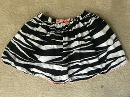Gymboree Girls Black White Zebra Print Skirt Sz 10 EUC Pink Bow & Tassels - $10.99