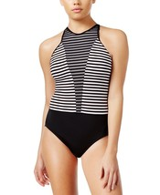 NIKE Women's Striped High-Neck One-Piece Swimsuit, X-Large, Black  9755-2 - $73.12