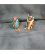 Pair Vintage Skiers Made From Walnut and Acorns, Really Neat - $11.29