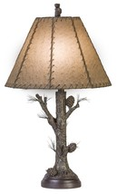 "Pinecone Rustic Table Lamp Rawhide Shade Pine Tree Bark Base Cabin Lodge  - 31""H - $145.00"