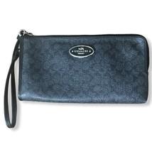 Coach Signature Black Wallet Wristlet Card ID Holder Zipper Closure Logo - $35.00