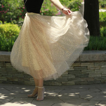 GOLD Sequin Tulle Midi Skirt Women Gold Sparkly Skirt Plus Size Party Skirt image 2