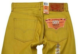 NEW LEVI'S 501 MEN'S ORIGINAL FIT STRAIGHT LEG JEANS BUTTON FLY YELLOW 501-1474