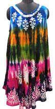 Exclusive Umbrella Dress, Tie-n-Dye Batik Bohemian Midi Party Wear, Free Size - $16.82