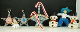 VINTAGE BEADED CHRISTMAS ORNAMENTS basket cowboy snowmen angel stars can... - $19.99