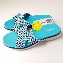 Easy Spirit ESPelia Open Toe Canvas Slip On Sandals Blue/Multi NEW Retail $49.99 - $44.00
