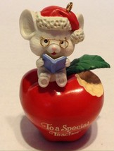 Lustre Fame Christmas Ornament Special Teacher Apple Mouse - $9.89