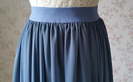 Women DUSTY BLUE Chiffon Maxi Skirt High Waist Maxi Chiffon Wedding Skirt image 8