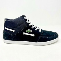 Lacoste Crosier Sail Mid LMS LEM Suede Black White Mens Size 9 Sneakers - $89.95