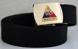 US Army 13th Armored Div Black Military Belt & Buckle - $17.81
