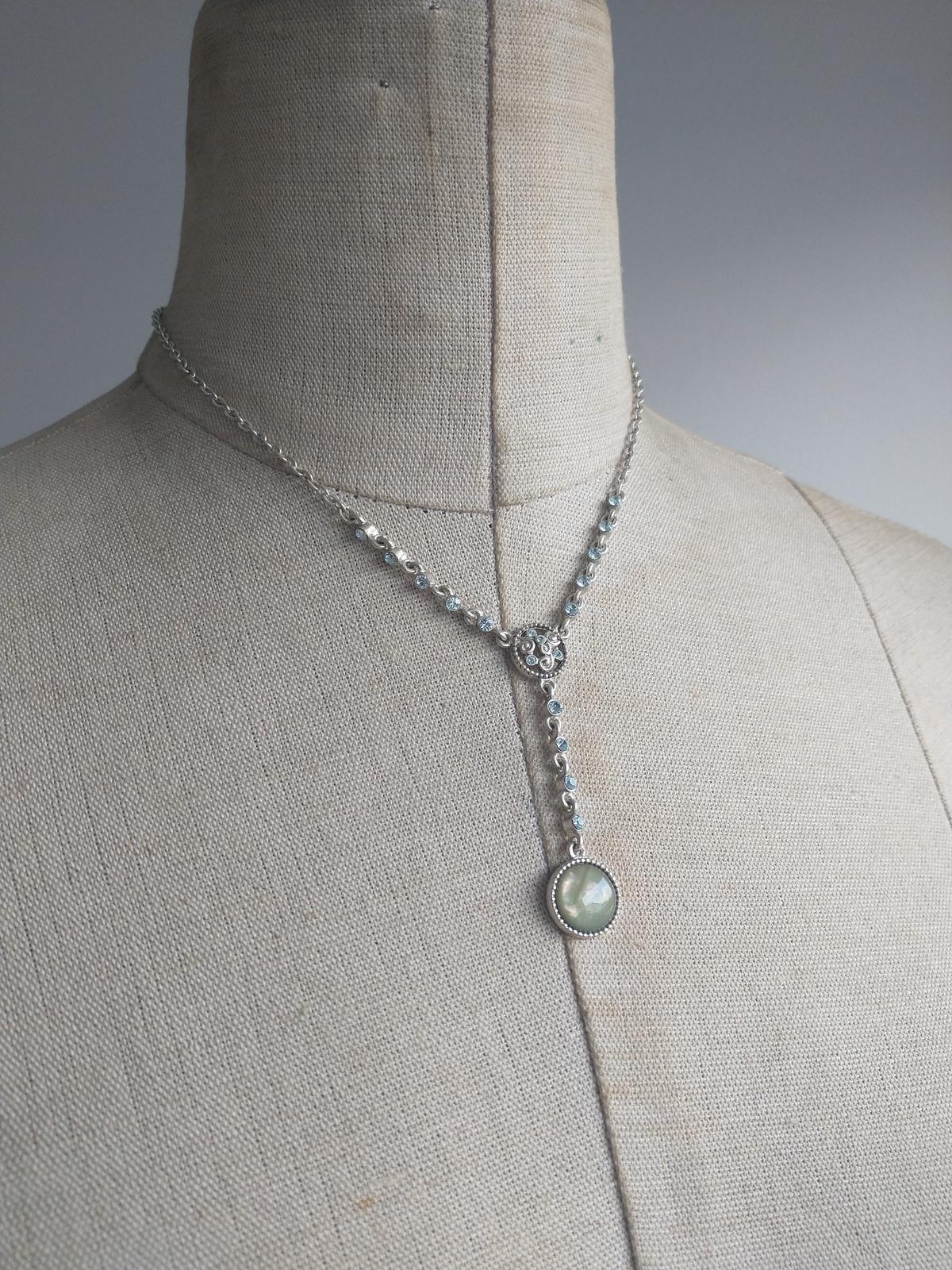 1928 silver tone pendant mint cabochon blue rhinestones - $10.00