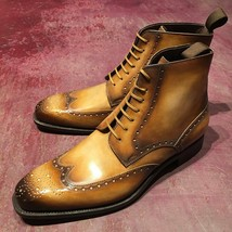 Handmade Leather Ankle High Dress Boots, Custom Made Formal Boots For Men   - $155.19 - $204.57