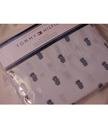 Tommy Hilfiger Navy Pineapples on Blue White Oxford Stripe Sheet Set King - $55.95