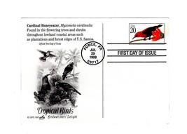 FDC-CARDINAL HONEYEATER-TROPICAL BIRD SERIES -1998 ARTCRAFT CACHET BK12 - $3.43