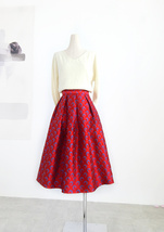 Women Deep Red Party Skirt High Waist Red Pleated Skirt A-line Midi Party Skirts image 2