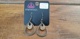Paparazzi Earrings (New) #530 Teardrops Within Teardrops Brass - $8.58