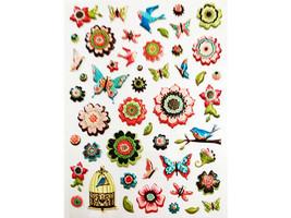 K&Company Pillow Stickers, Flowers & Birds, 49 Pieces