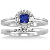 1.25 Carat Sapphire & Sim Diamond Elegant Halo Bridal Set on 14K White Gold Fn  - $99.99