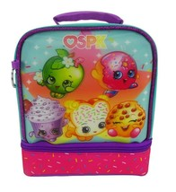 """Shopkins 9"""" SPK Dual Compartment Lunch Bag Tote Pail with Key Chain New with Tag image 1"""