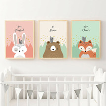 Tribe Woodland Animal Wall Art Canvas Painting Rabbit Cartoon Posters Pr... - $7.91+