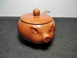 RARE PORCELAIN UNUSAL COVERED GRAVY BOAT PIG SHAPE WITH SPOON UNMARKED  - $59.99