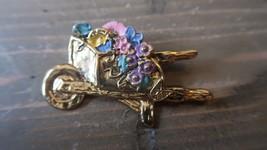Vintage La Rage Enamel Gold Tone Gardening Flowers Brooch 5.7 x 3.7 cm - $11.87