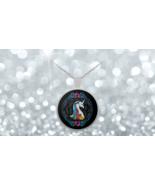 Rainbow Black Fantasy White Unicorn 1 inch Round Pendant 22 inch Necklace - $24.95