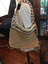 NEW THE SAK  Crochet Purse Bag Tote Handbag Tan Cream Brown Lilac Bamboo - $51.43