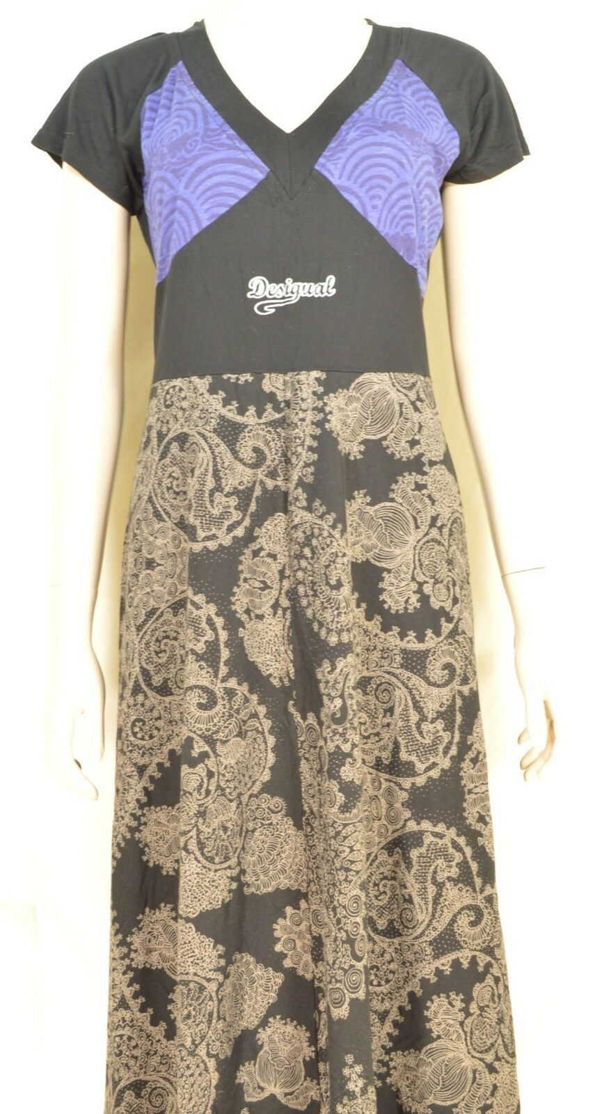 Desigual dress SZ S  black brown blue fit top flare bottom paisley short sleeve