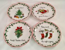 "Set of 4 Certified International Ceramic Christmas Canape Plates 5 7/8"" - $14.84"