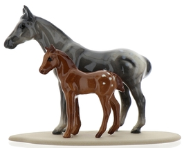 Hagen-Renaker Miniature Ceramic Horse Figurine Appaloosa Mare and Colt on Base