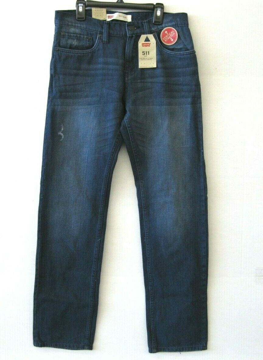 Primary image for Levi's 511 Nwt Big Boys Jeans Taglia 20 30x30 Verticale Stretch Slim Fit KD768