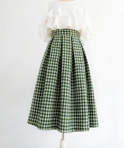 Women Green Houndstooth Midi Skirt A-line Winter Wool Midi Party Skirt Plus Size image 5
