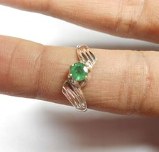Emerald Ring / 925 Sterling Silver Ring  / 4 mm Zambian faceted   - $36.00