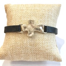 Leather Cross Bracelet, Hammered Cross Bracelet, Narrow Leather Bracelet w Cross image 2