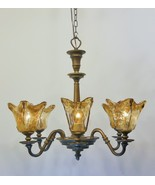 Rustic Amber Glass Kitchen Dining 6 Light Chandelier Bronze Finish Light... - $337.66