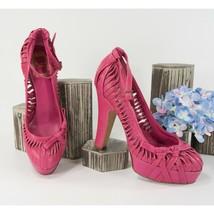 Christian Dior Hot Pink Fuchsia Twisted Leather Platform Pumps 37.5 - $172.76