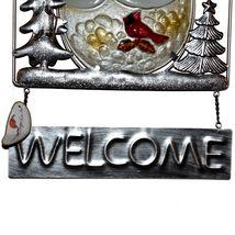 Metal & Glass Winter Holiday Snowman Seasonal Hanging Welcome Sign Decor image 4
