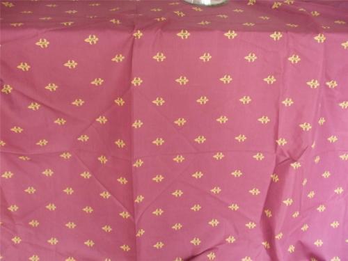 "Vintage 1980's Fleur de Lis design Burgundy Gold Fabric w One Boarder 70"" x 80"""