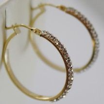 SOLID 18K YELLOW GOLD CIRCLE HOOP EARRINGS WITH ZIRCONIA LUMINOUS MADE IN ITALY image 2