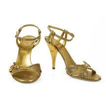 Tom Ford For Gucci Bee Golden Ankle Tie Strappy High Heel Sandals Shoes ... - $296.01