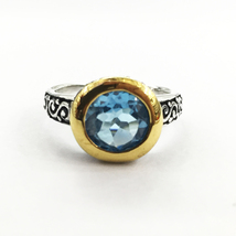 silver ring with blue topaz, blue stone ring, gold plated ring with gems... - $35.00