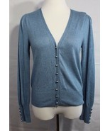 Marks Spencer women's cardigan steel long sleeve buttons front size L - $18.67