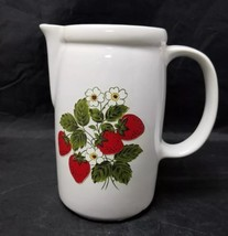 """McCoy Pottery Pitcher White & Strawberries #1429 Made in USA, 7"""" Tall, 1... - $13.54"""