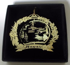 Hawaii Brass Ornament State Landmarks Black Leatherette Gift Box - $14.95