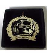 Hawaii Brass Ornament State Landmarks Black Leatherette Gift Box - $14.95