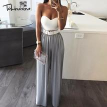 Tobinoone 2018 Sexy backless off shoulder jumpsuit women Tiered ruffle high wais - $44.19