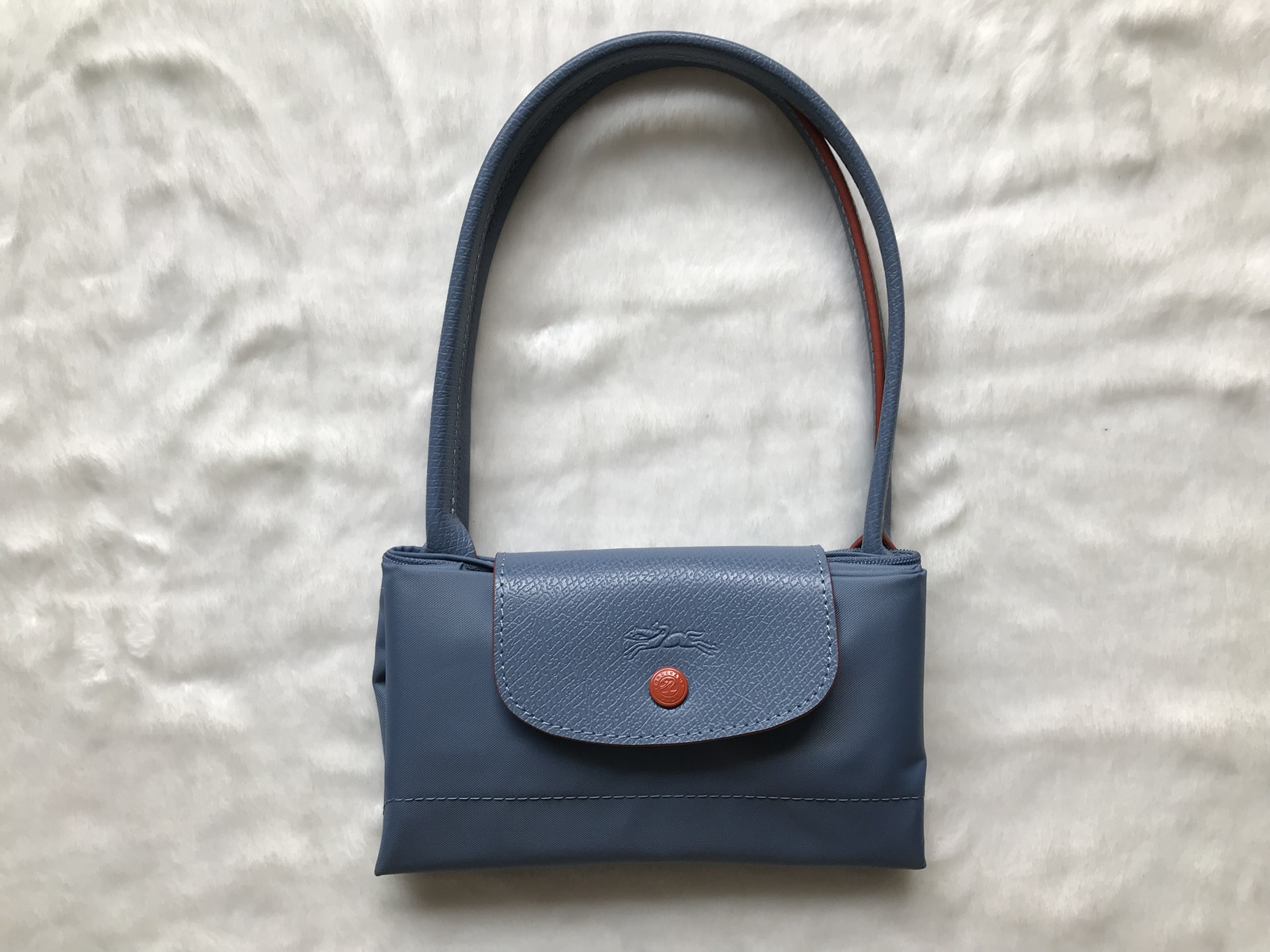 Franc Longchamp Le Pliage Club Collection Horse Embroidery Small Tote Light Blue